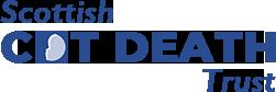 scottish cot death trust logo blue text only